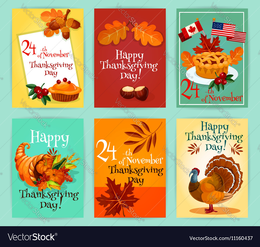 Thanksgiving day greeting cards set