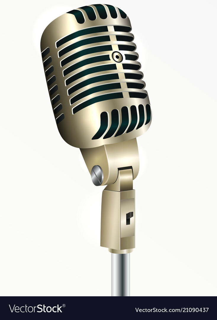 a76982457 Vintage microphone golden color Royalty Free Vector Image