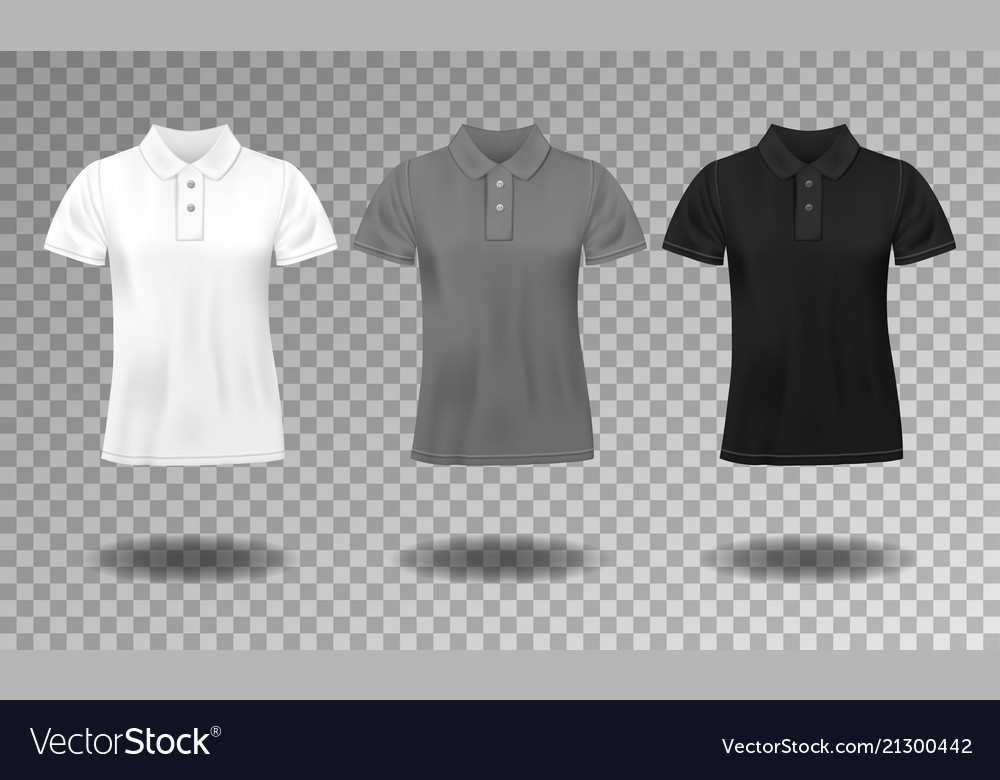 Black white and gray realistic slim male polo t