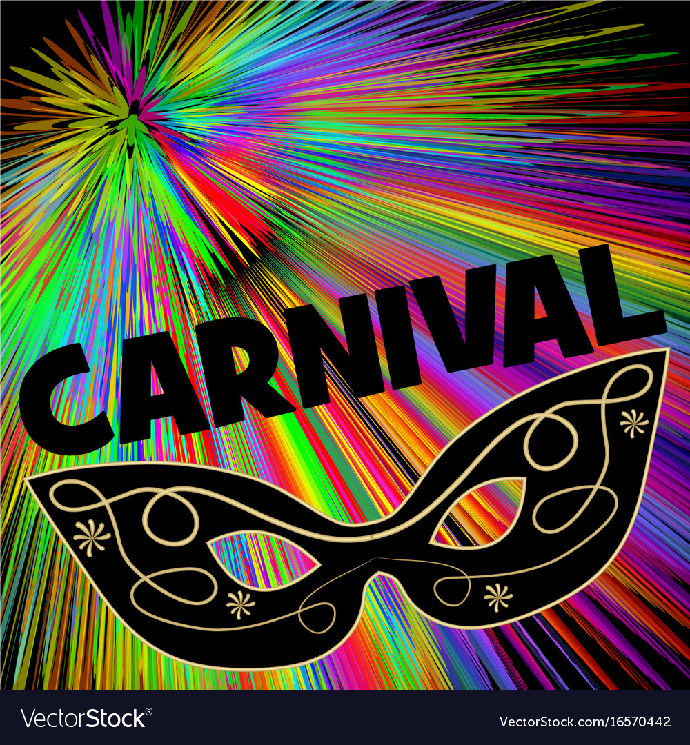 Carnival background with black eye mask on rainbow vector image