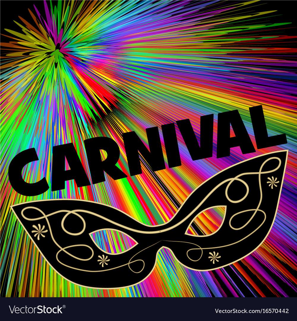 Carnival background with black eye mask on rainbow