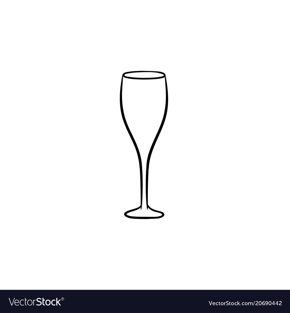 Champagne glass hand drawn sketch icon