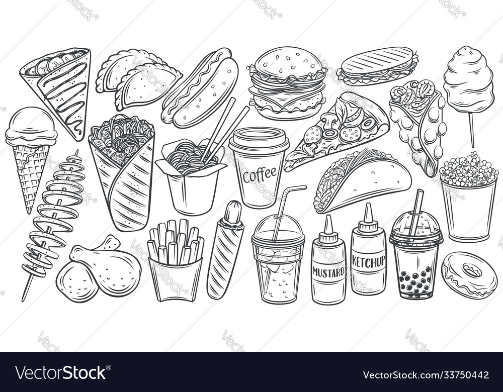 Fast food outline drawn icon