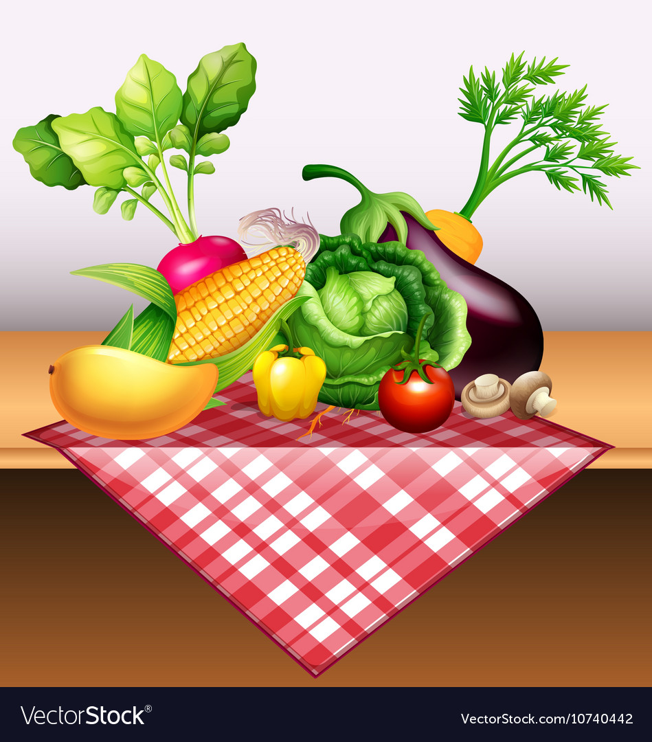 Fresh vegetables and fruit on table
