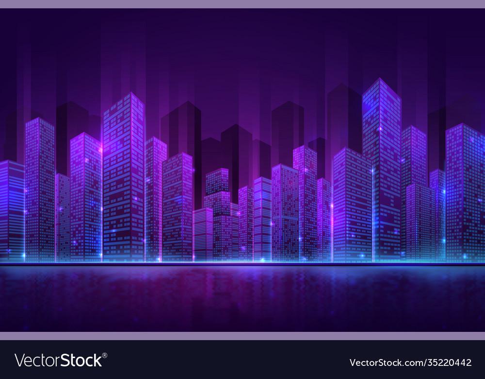 Futuristic city building high neon cityscape