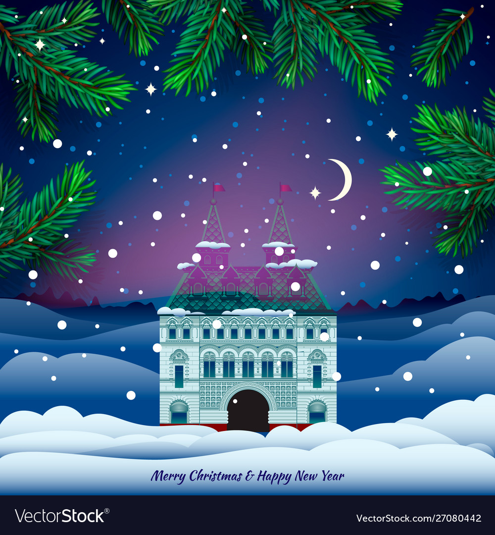 House in snowfall christmas greeting card