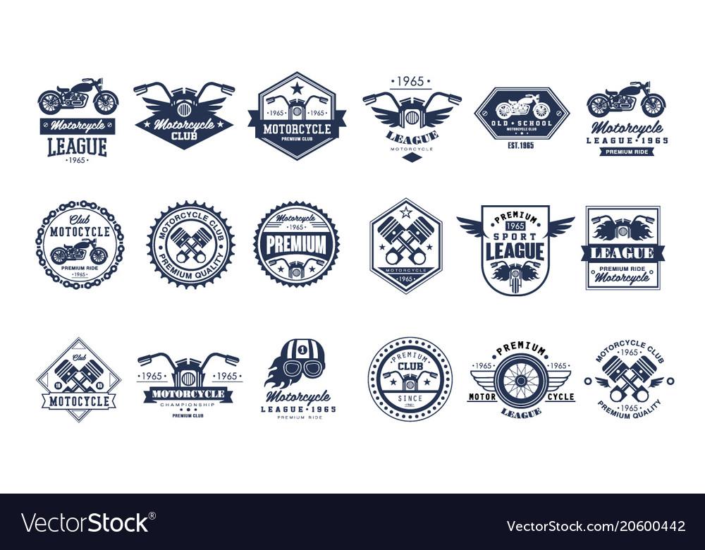 Motorcycle club logo template set sport league