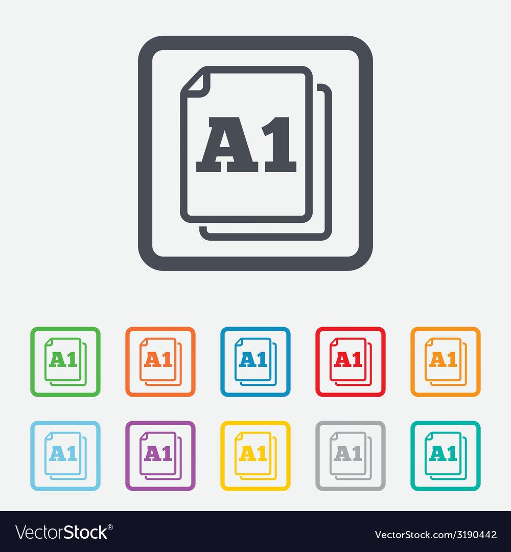 Paper size A1 standard icon Document symbol
