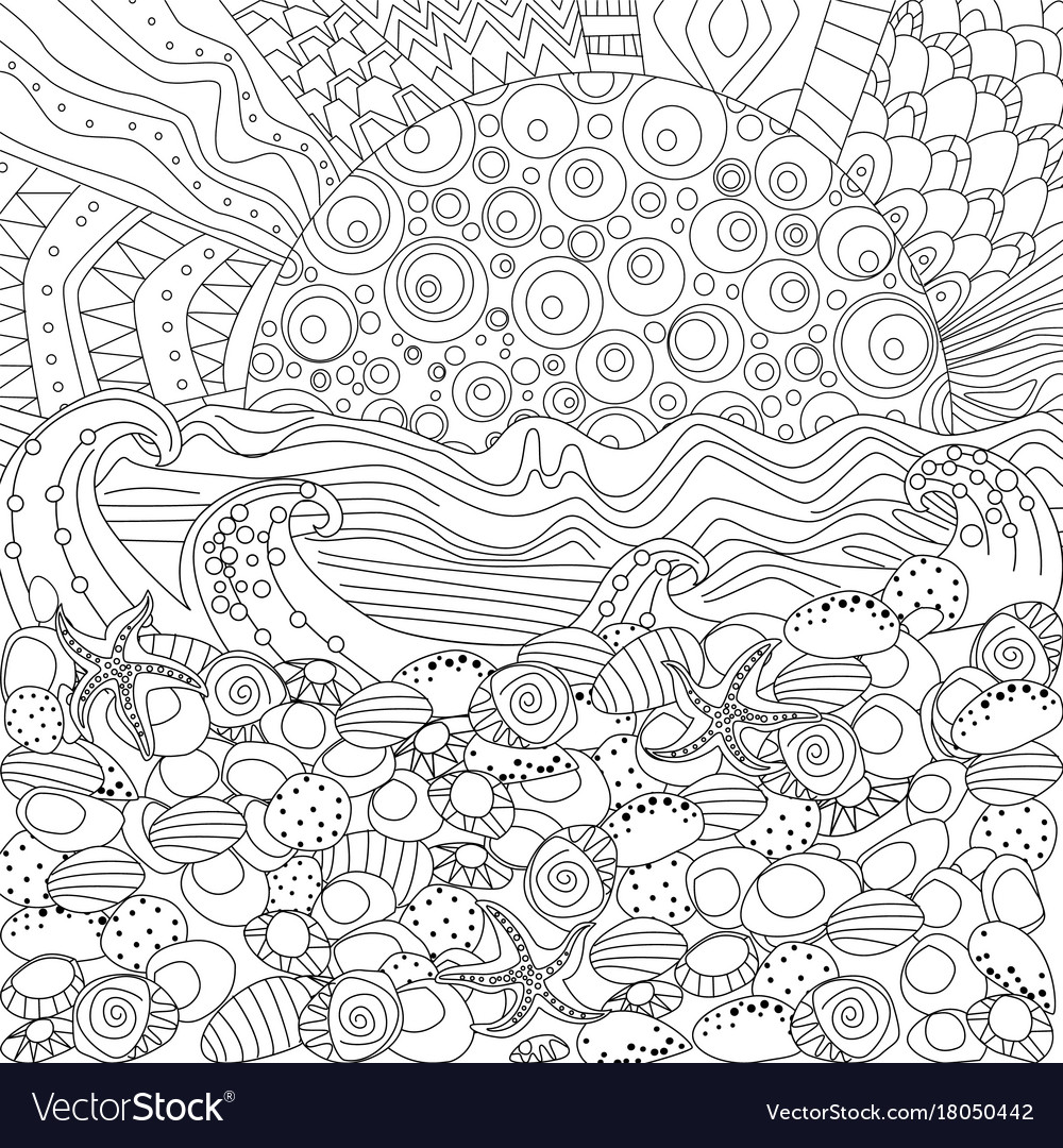 Seascape for coloring book