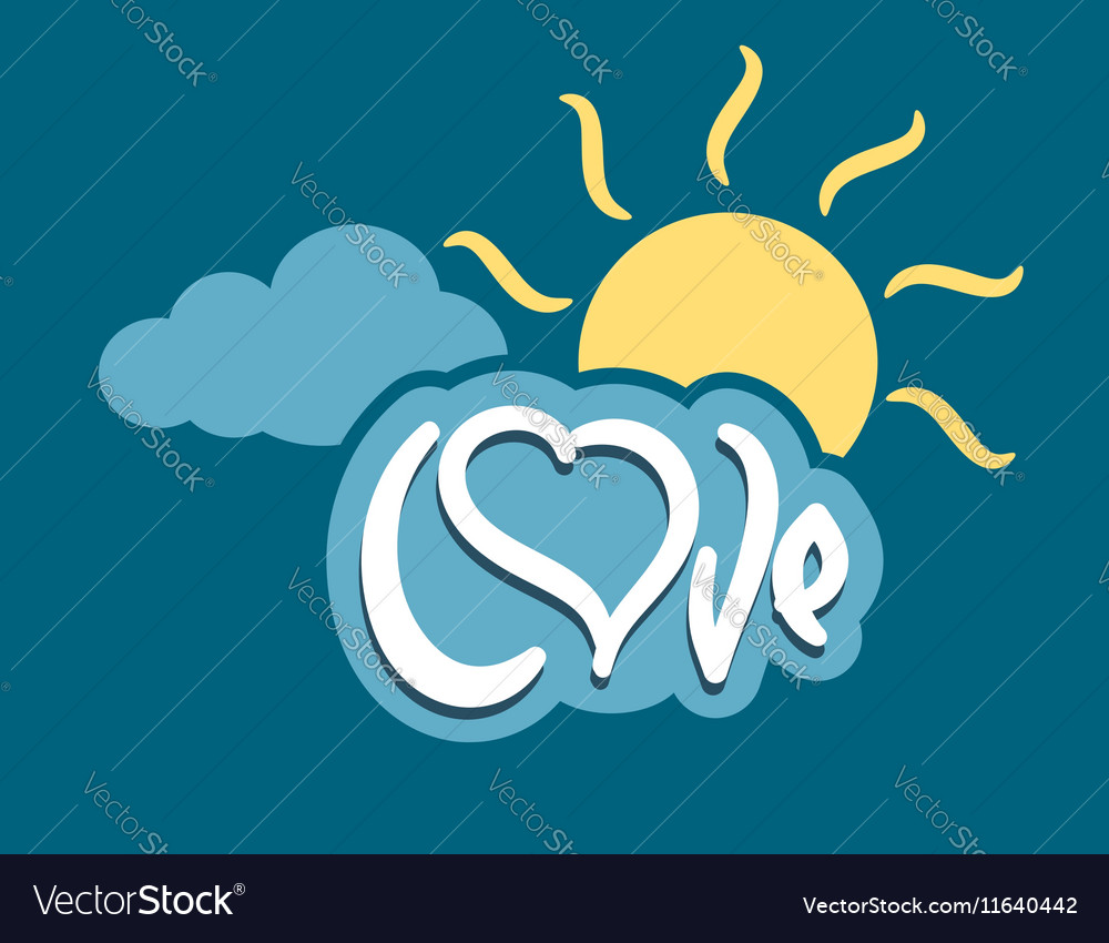 Word love with heart on cloud