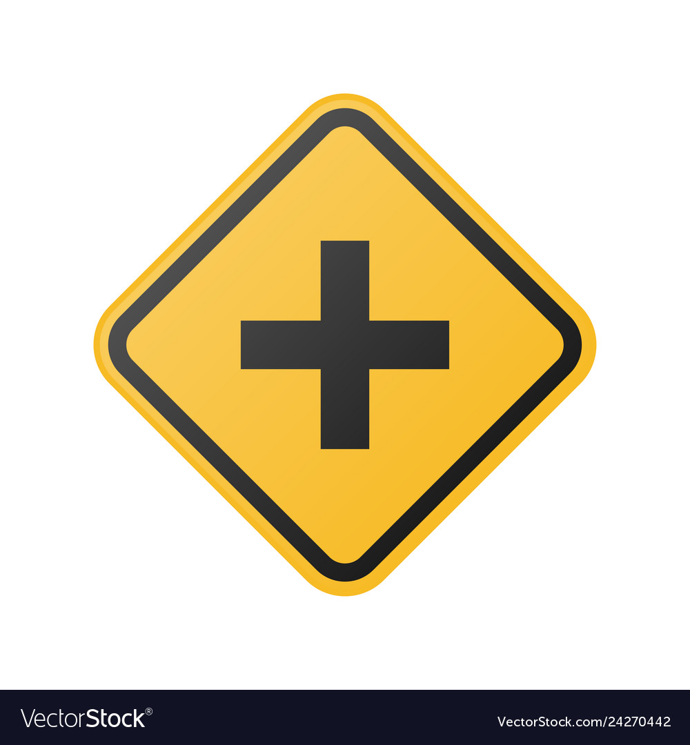 Yellow cross road sign