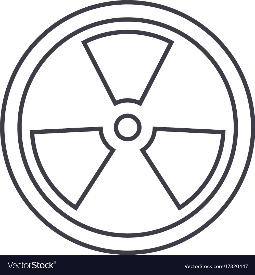 Biohazarddangerous radiation line icon vector image