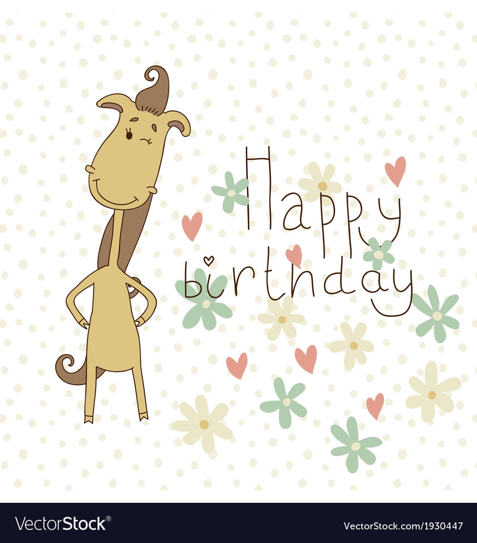 Birthday card with a cute horse