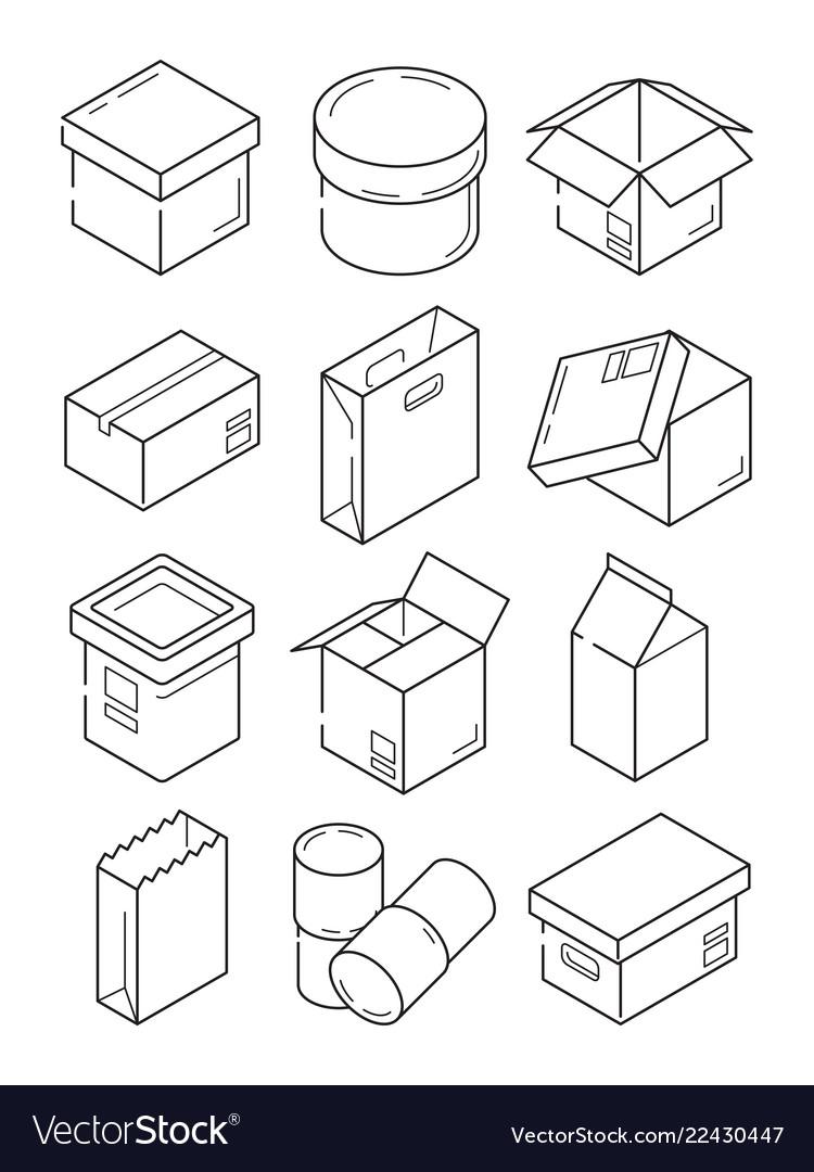 Box outline symbols paper wooden or carton export