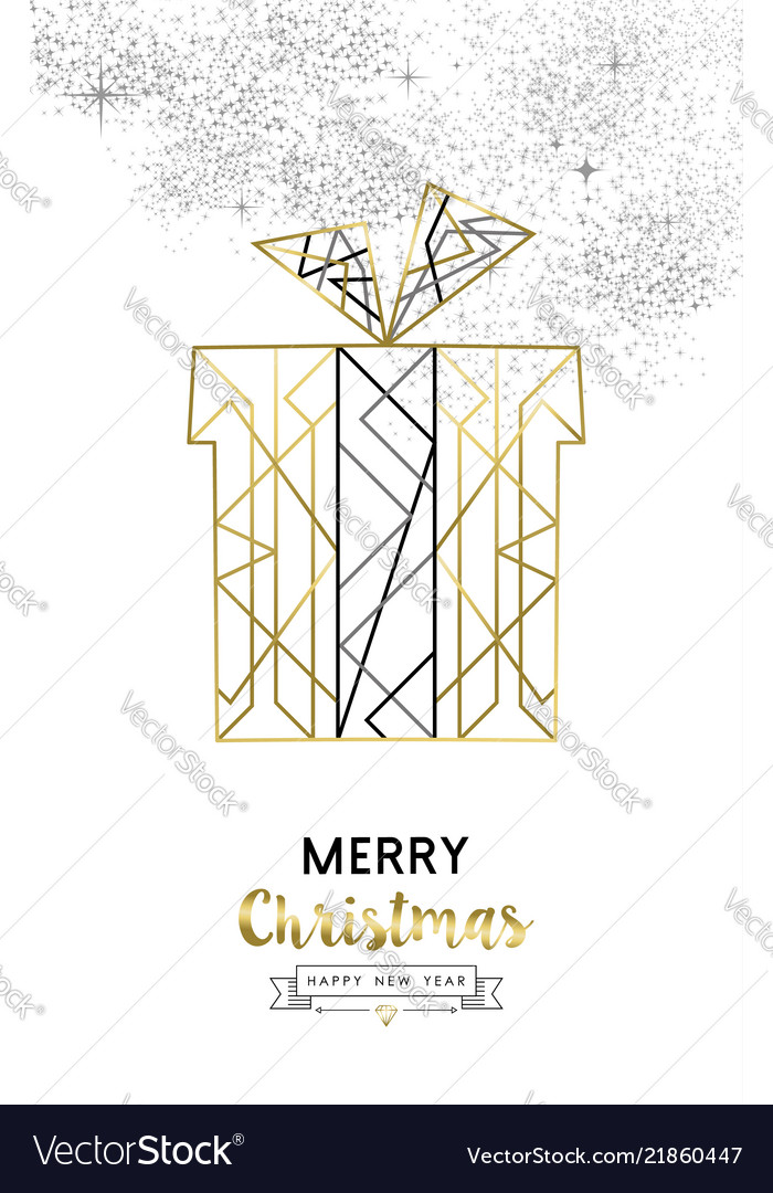 Christmas and new year abstract gold line gift box