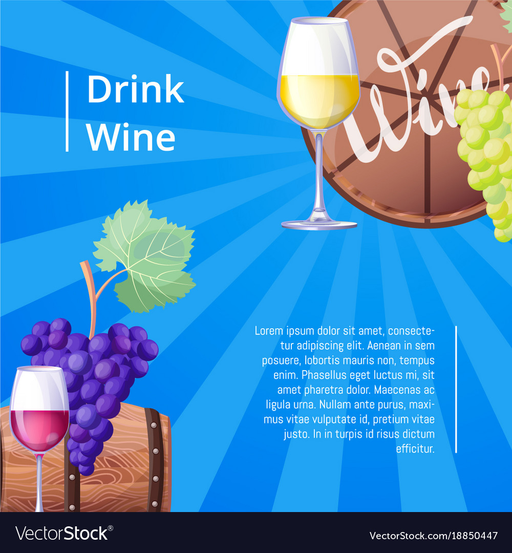 Drink wine poster with text