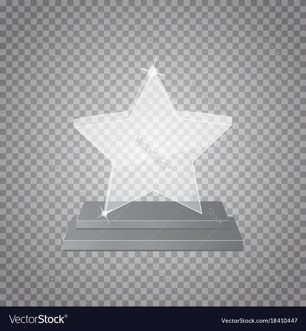 Empty glass trophy awards on transparent