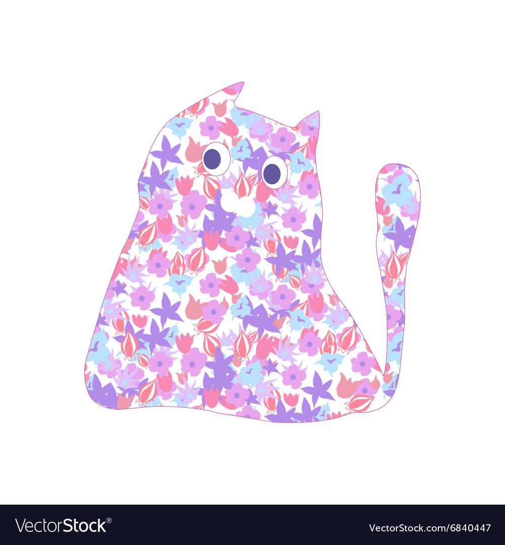 Flower cat vector image