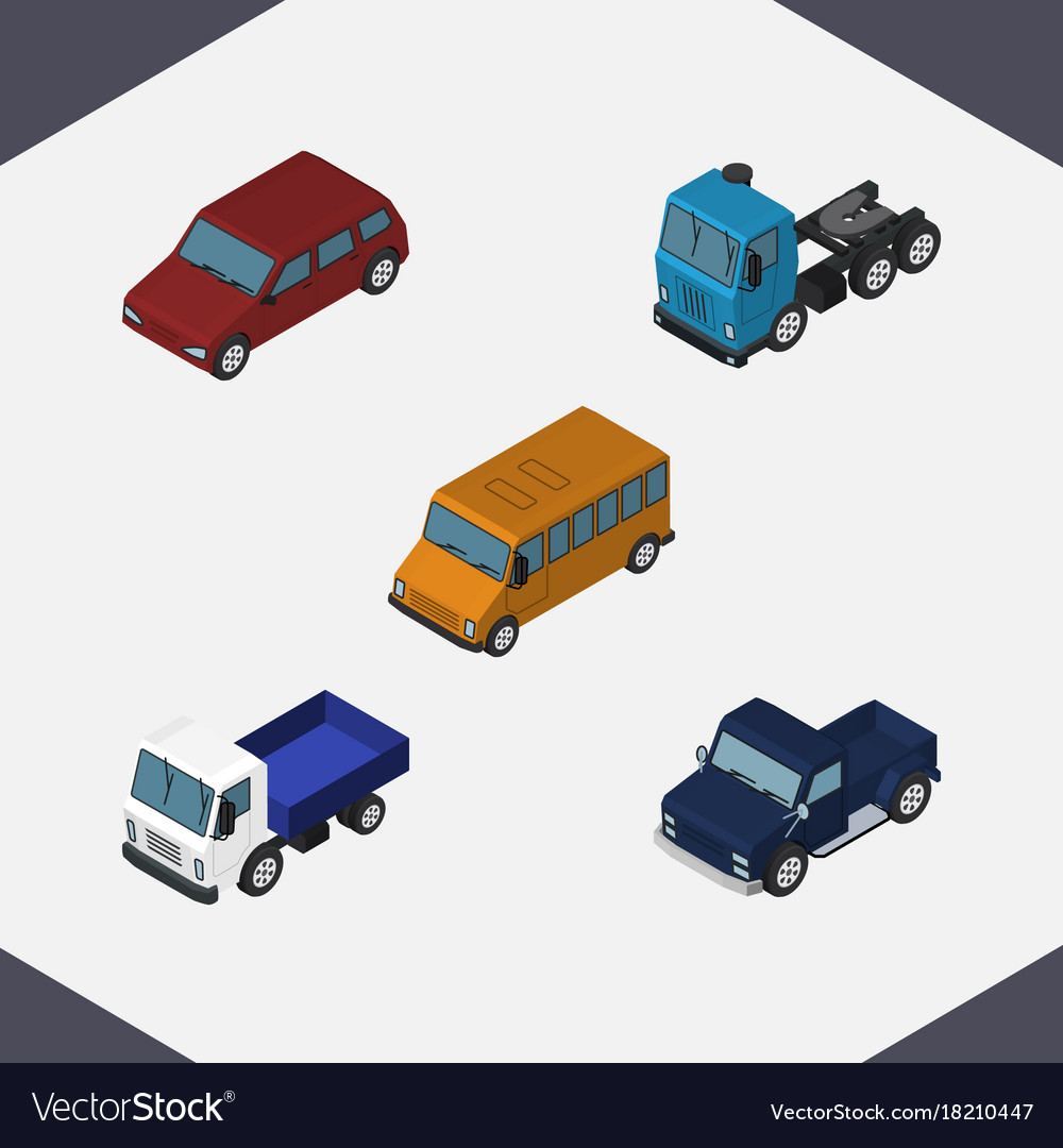 Isometric automobile set of lorry suv truck and