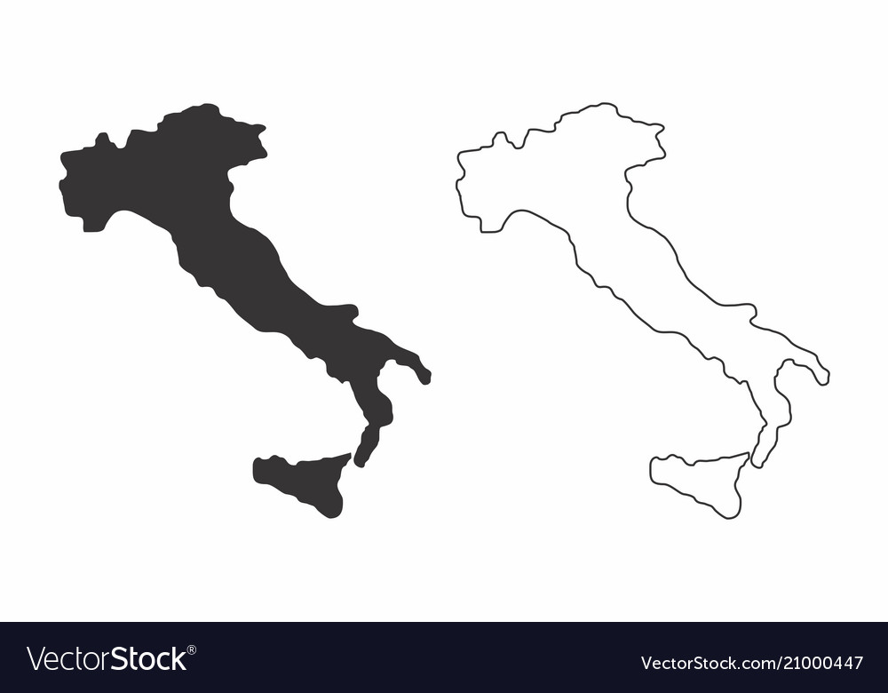 Black And White Map Of Italy.Maps Of Italy