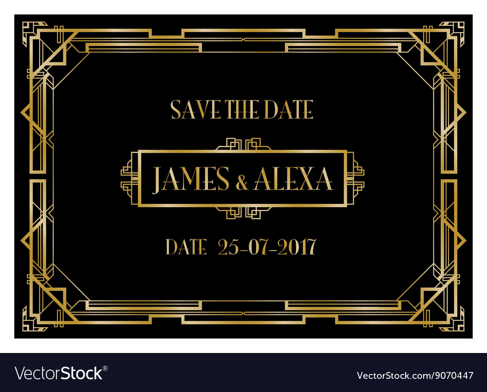 Save The Date Art Deco Card Royalty Free Vector Image