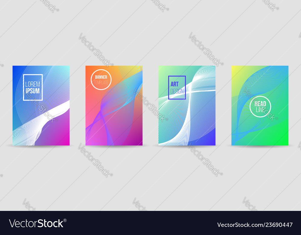 Set of banners with wave liquid texture