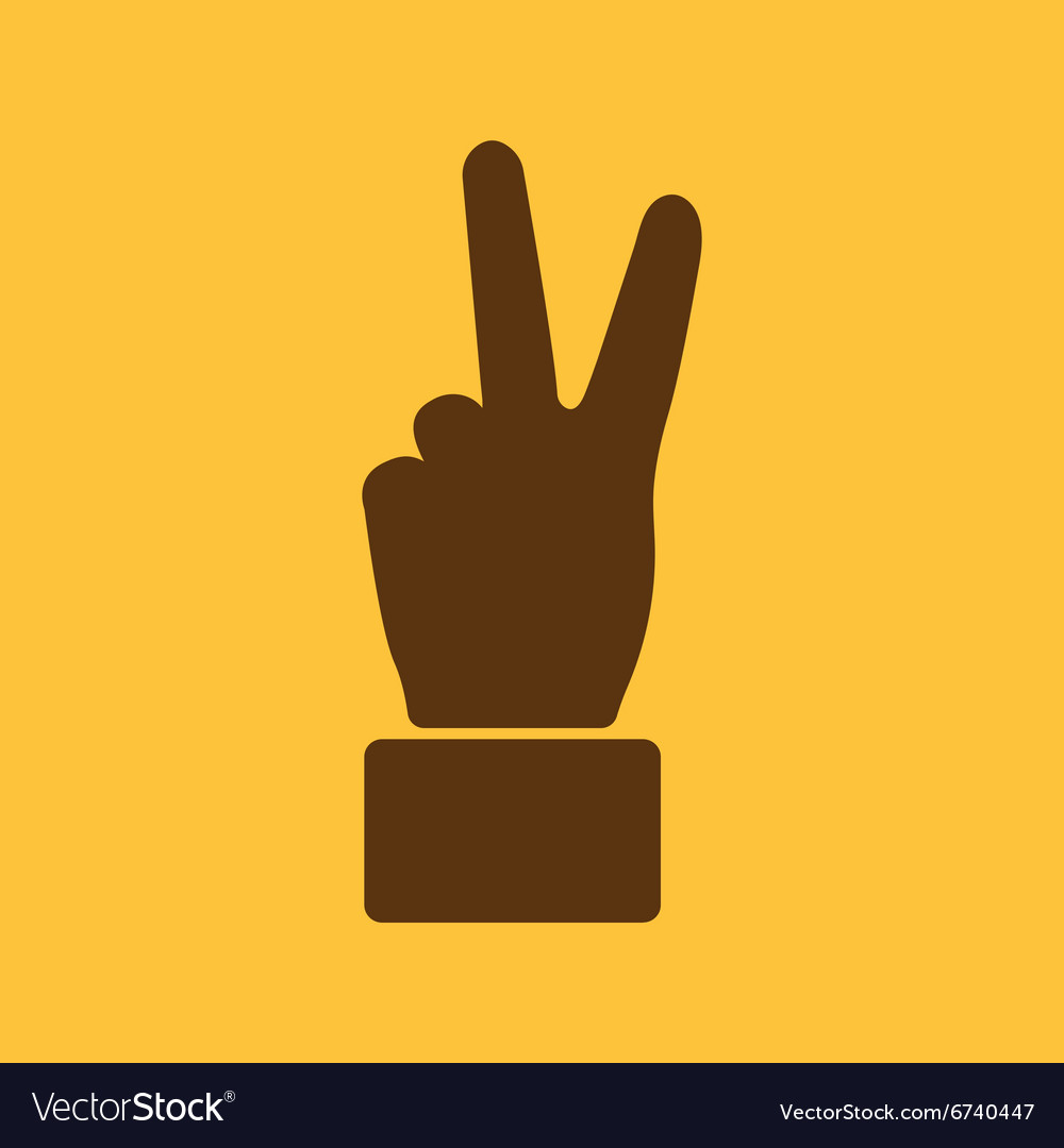 The Hand showing victory gesture icon Victoty vector image on VectorStock