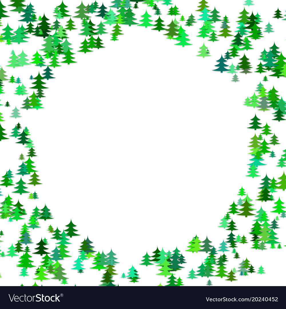 Abstract random pine tree pattern round border