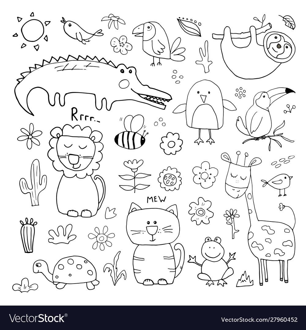 Animal doodles set cute animals sketch hand drawn