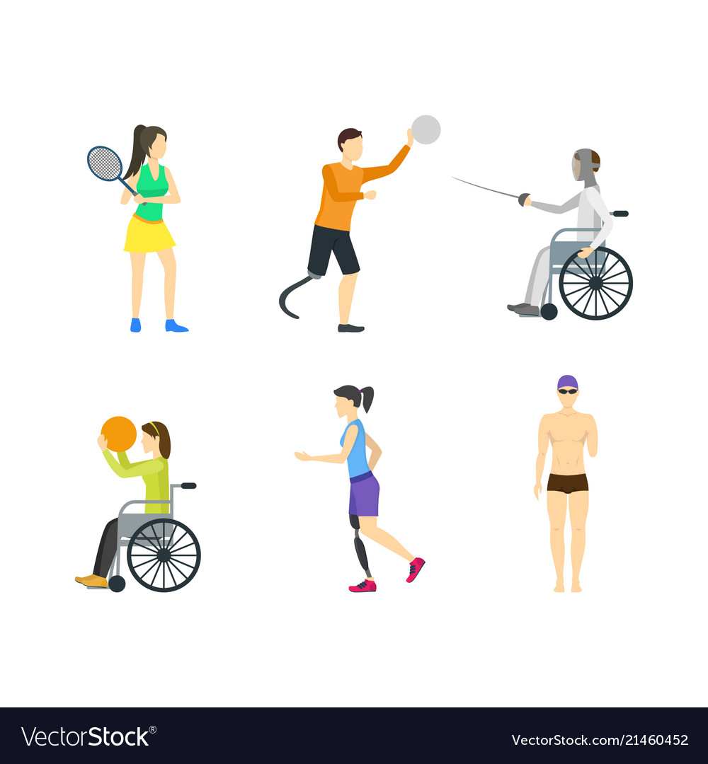 Cartoon disabled sports characters icon set