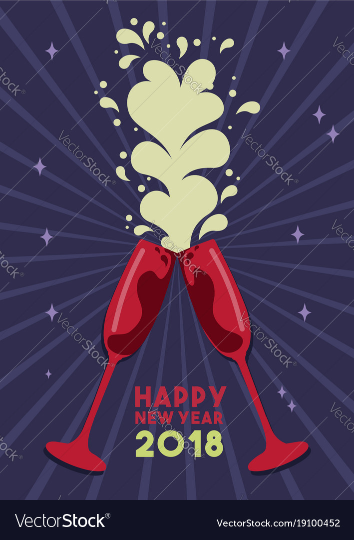 happy new year 2018 party drink toast card vector image