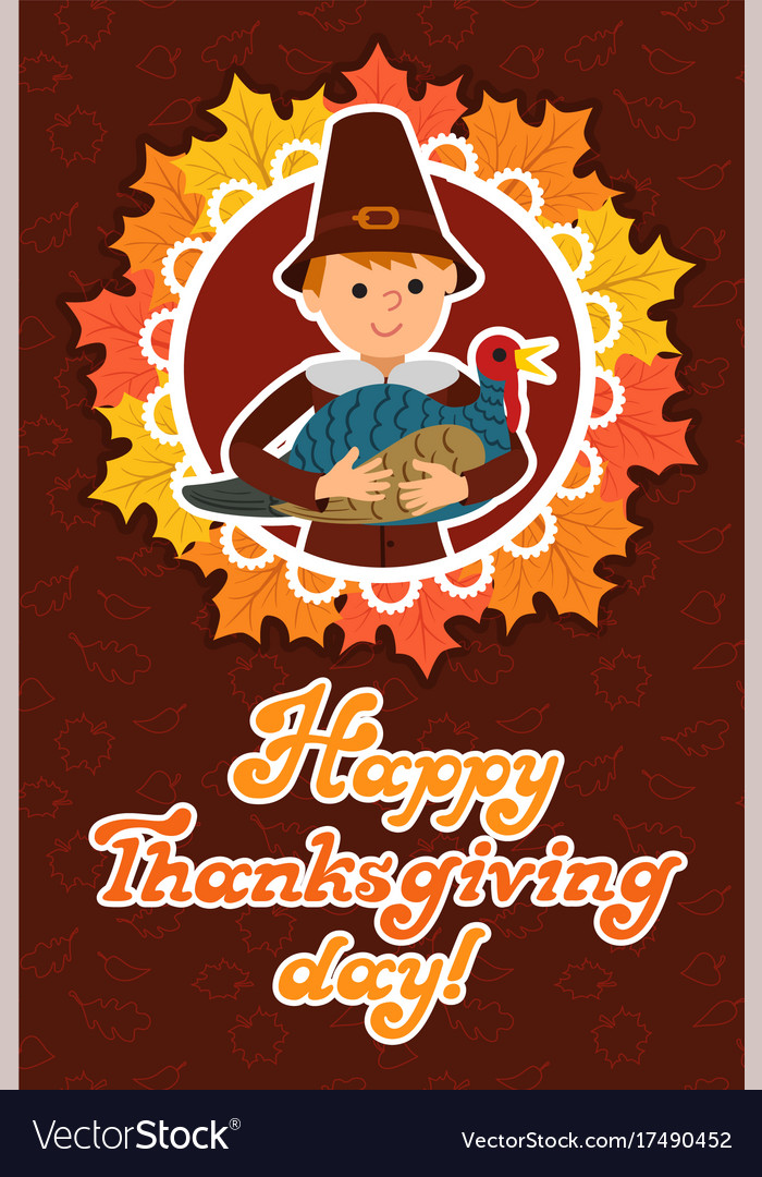 Happy thanksgiving day card with child leafs and