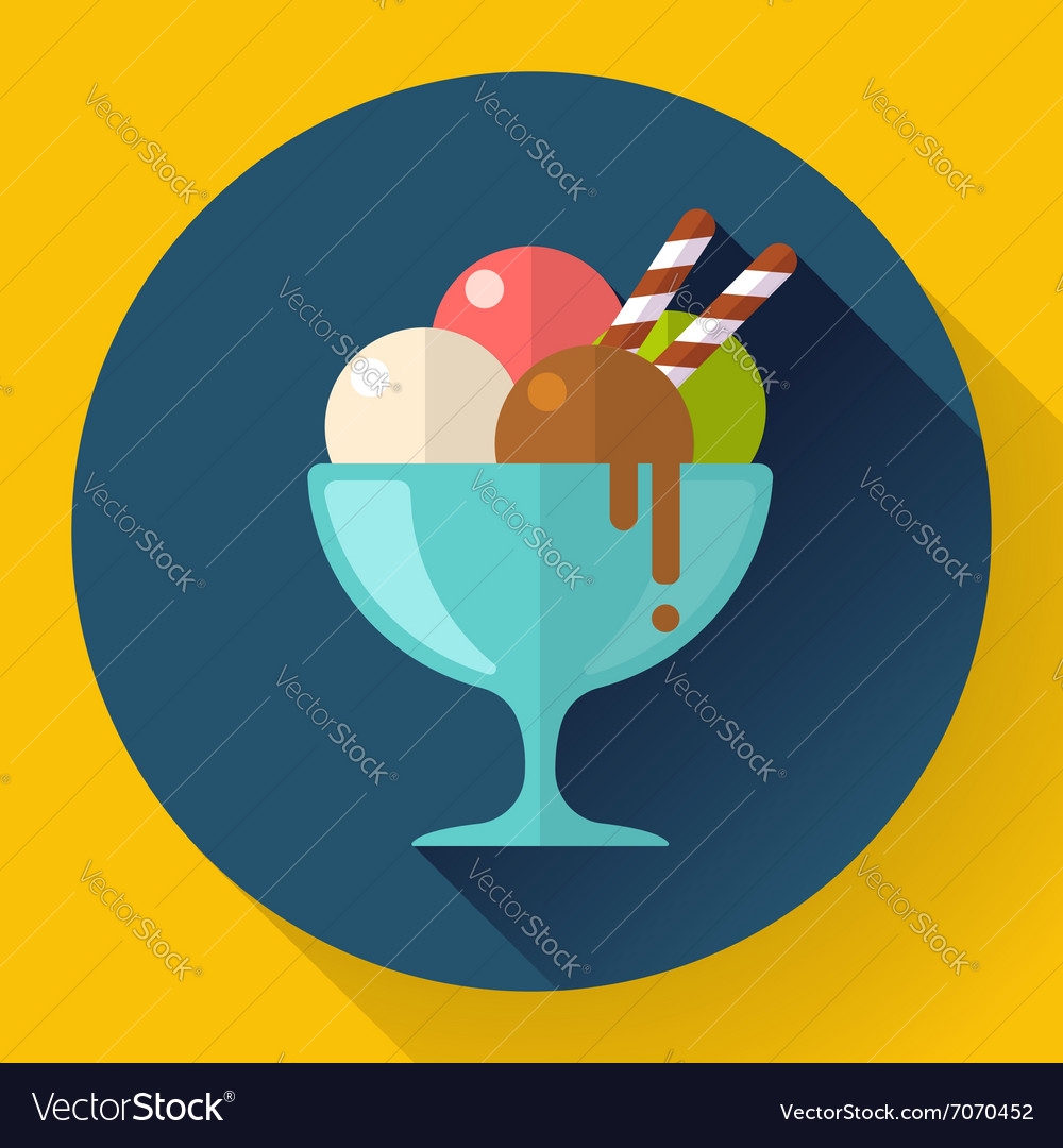 Ice Cream in glass cup icon Flat designed
