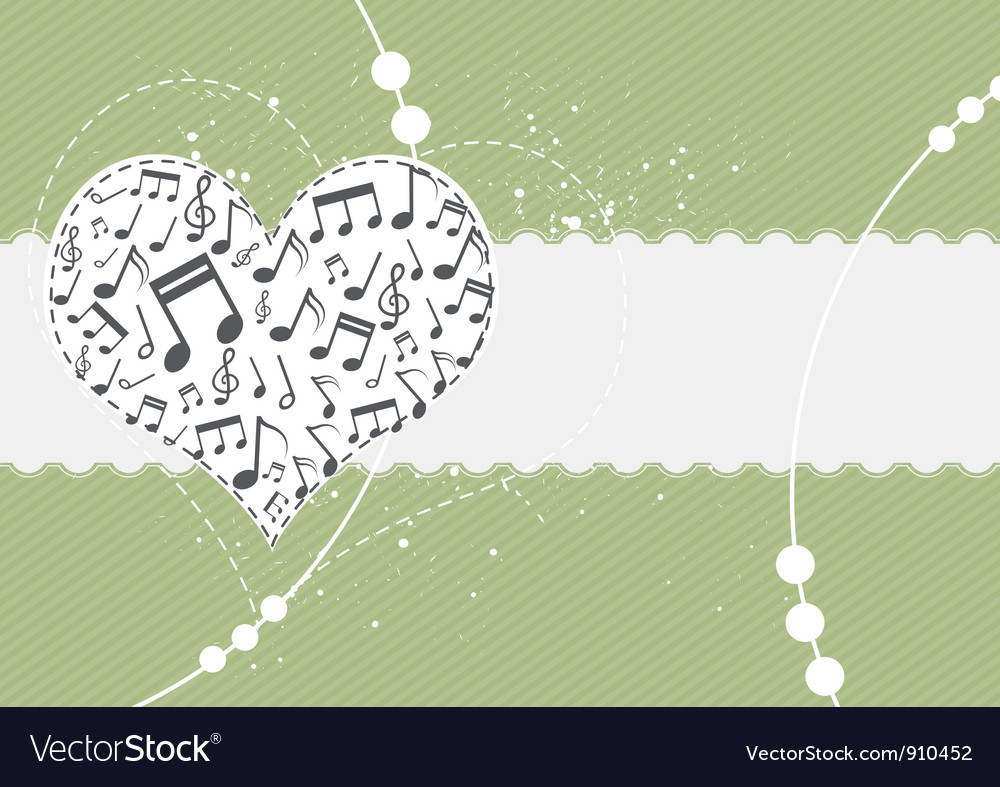 Music in heart background vector