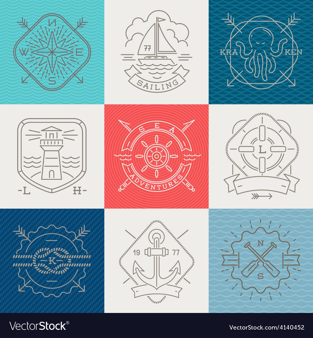 Nautical adventures and travel emblems and signs