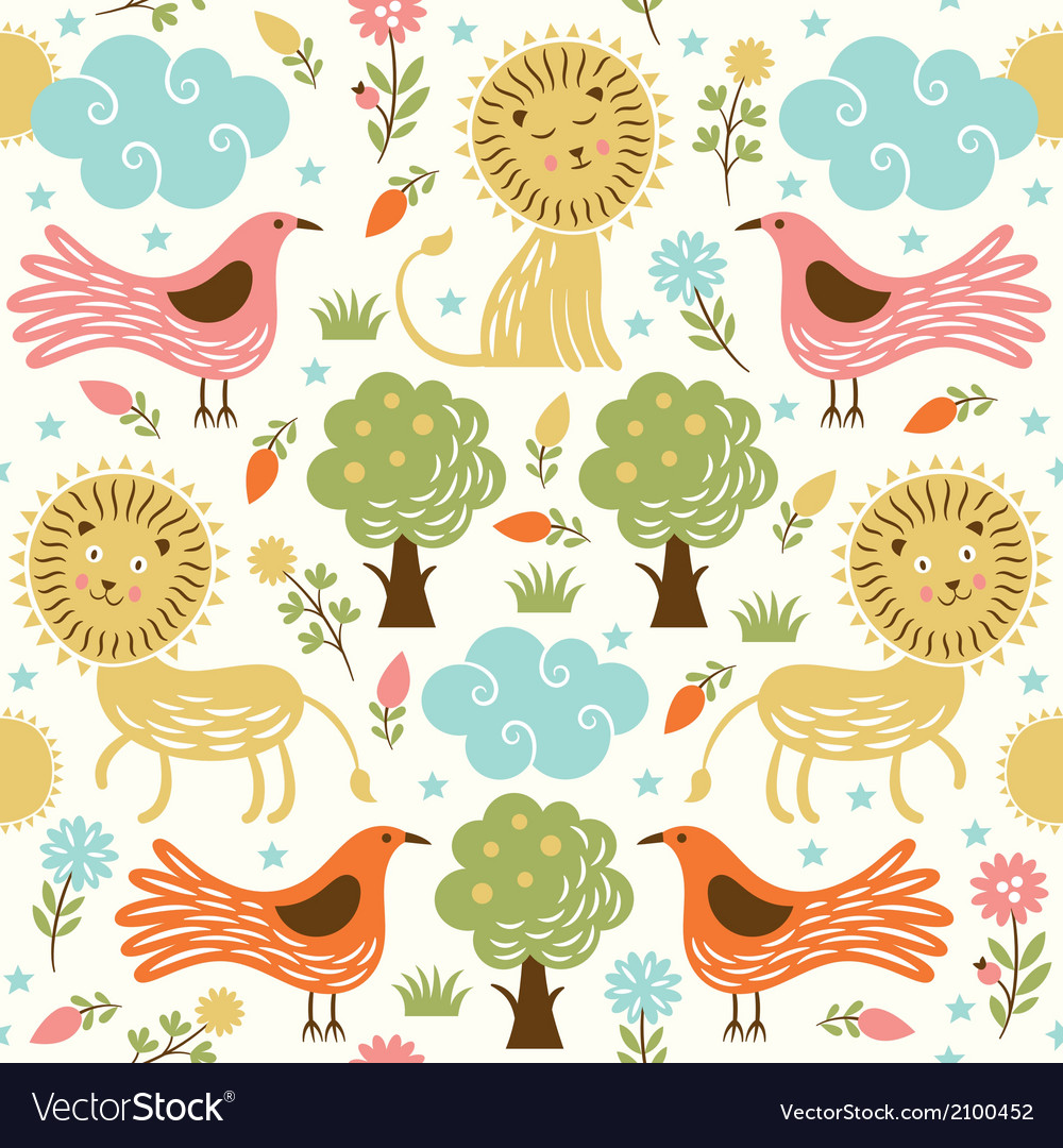 Seamless pattern with lion and birds vector image