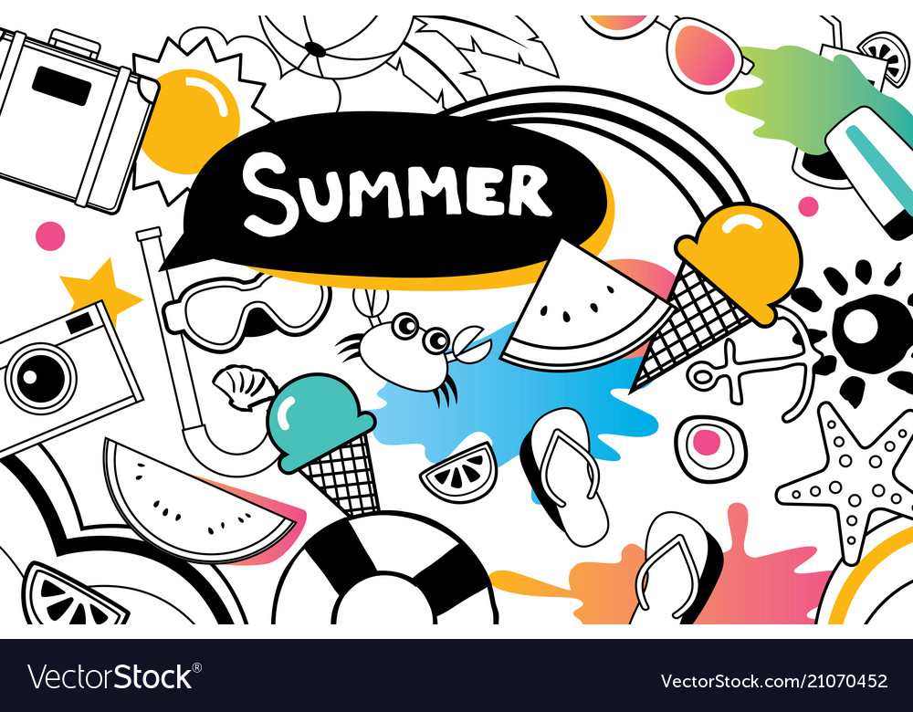 Summer doodles symbol and objects icon elements