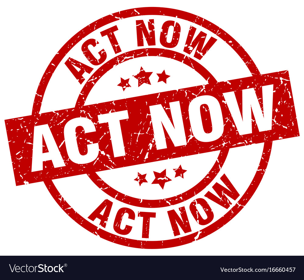 Act now round red grunge stamp