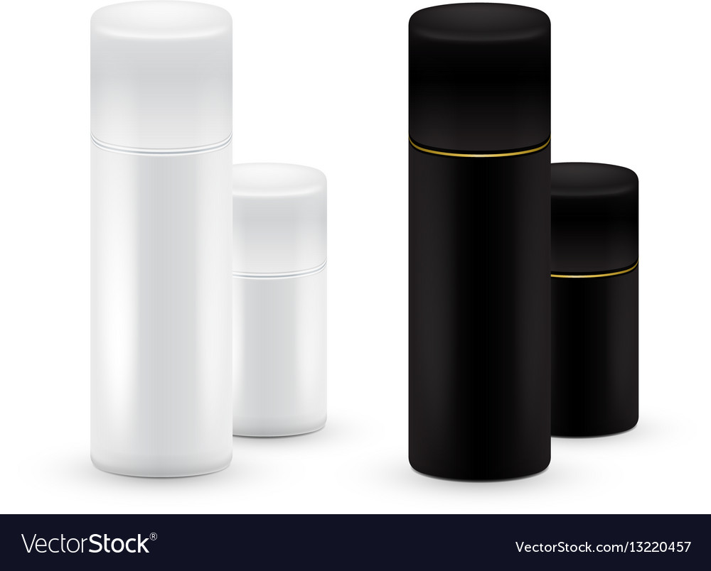Black and white bottles of aerosol spray metal vector image