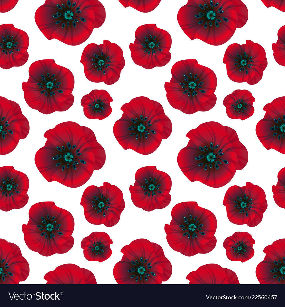 Bright red poppies seamless pattern
