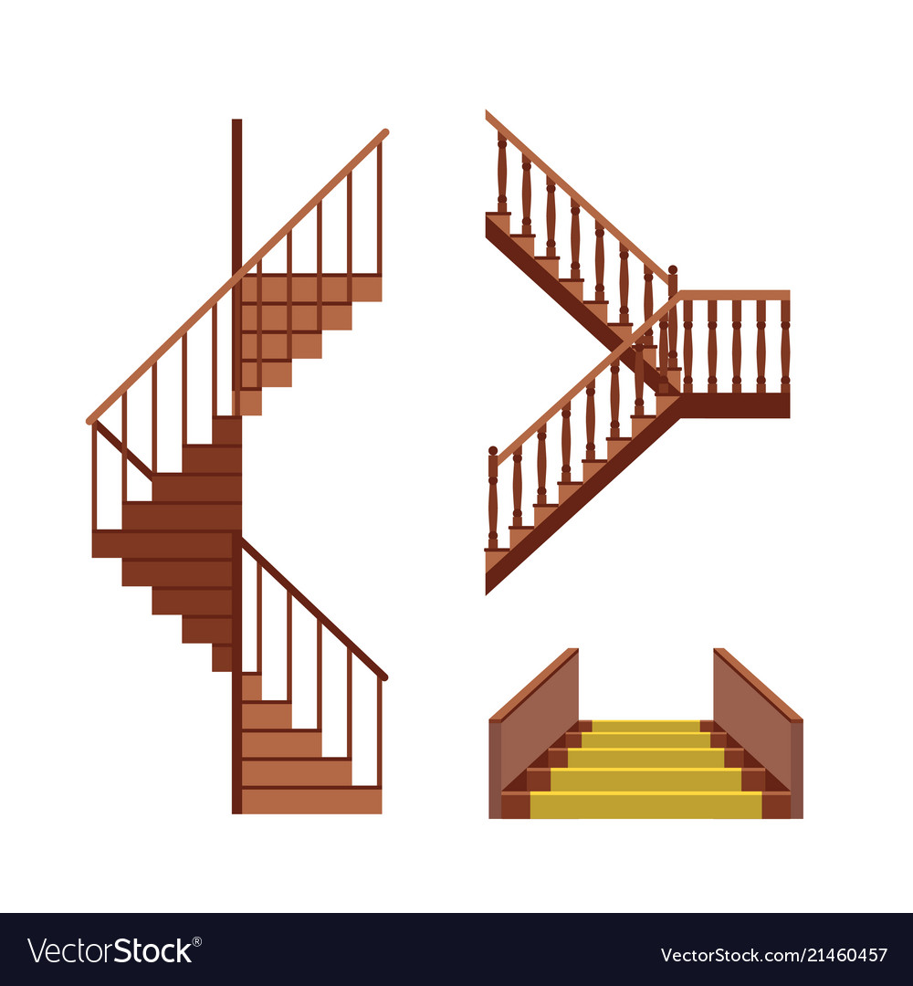 Cartoon Stairs Set Royalty Free Vector Image Vectorstock