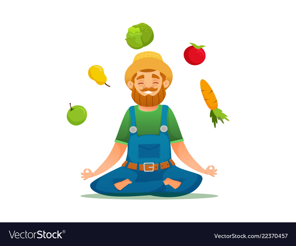 Farmer in yoga pose