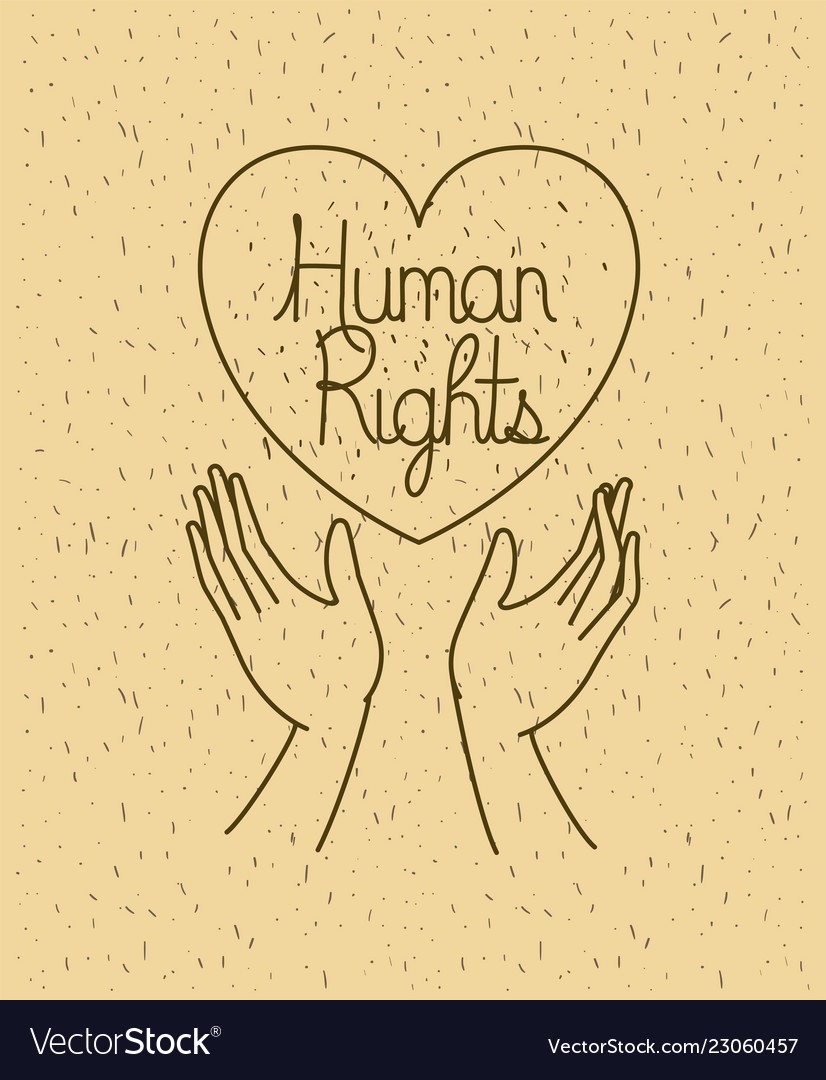 Hand With Heart Human Rights Drawns Royalty Free Vector
