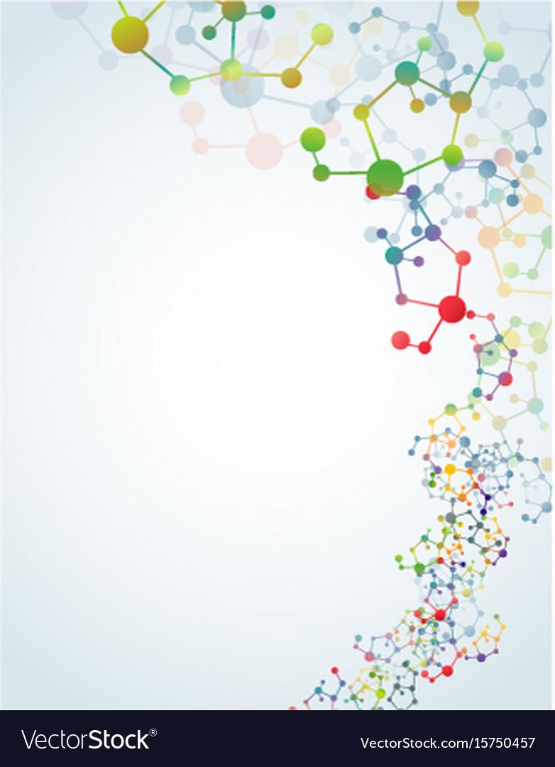 Multicolored molecular background vector image