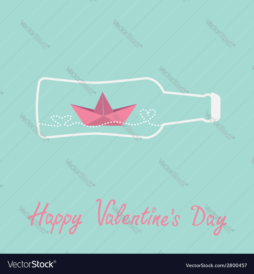 Origami paper boat and heart wave beer bottle vector image