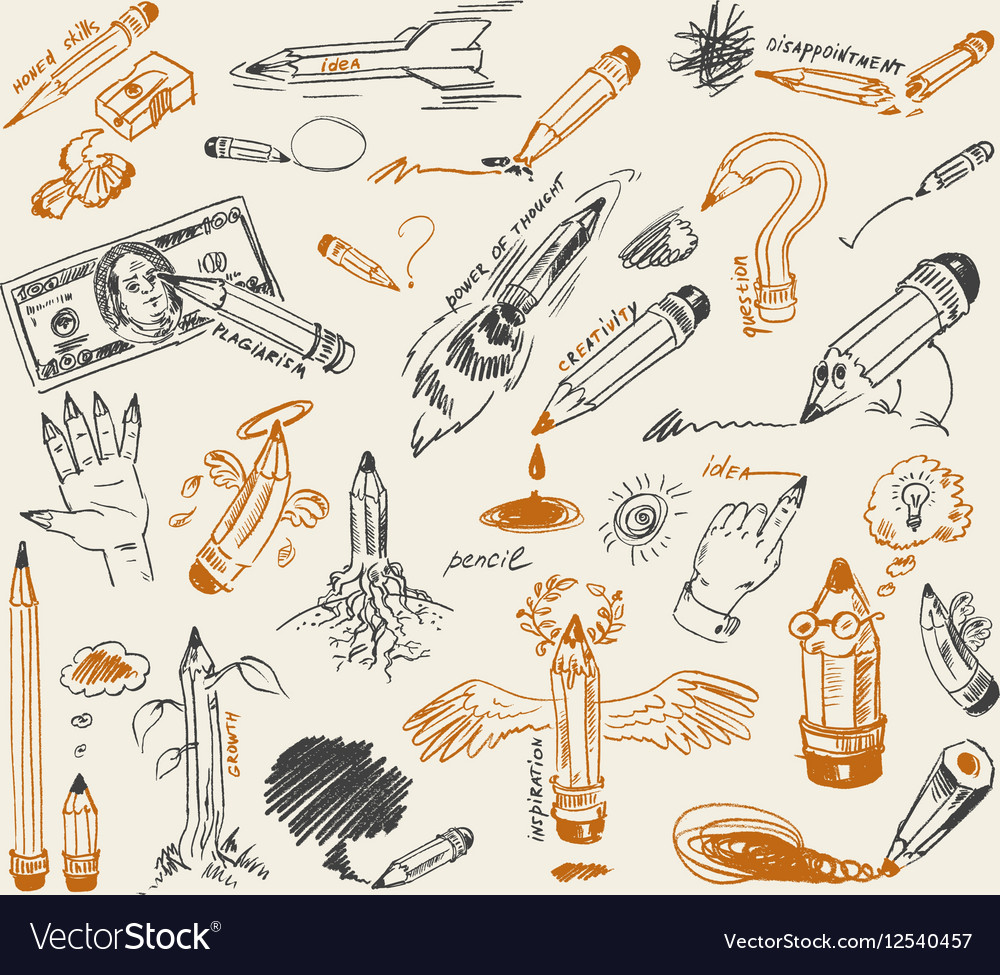 Pencil drawing version of raster image vector image on VectorStock