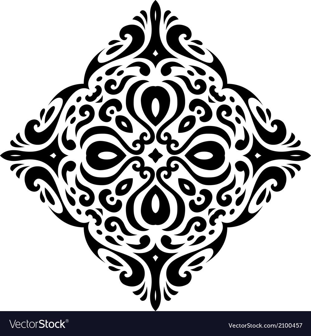 Tribal tatto square shape vector image