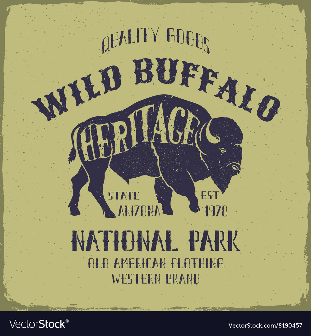 Wild Buffalo typography design vector image