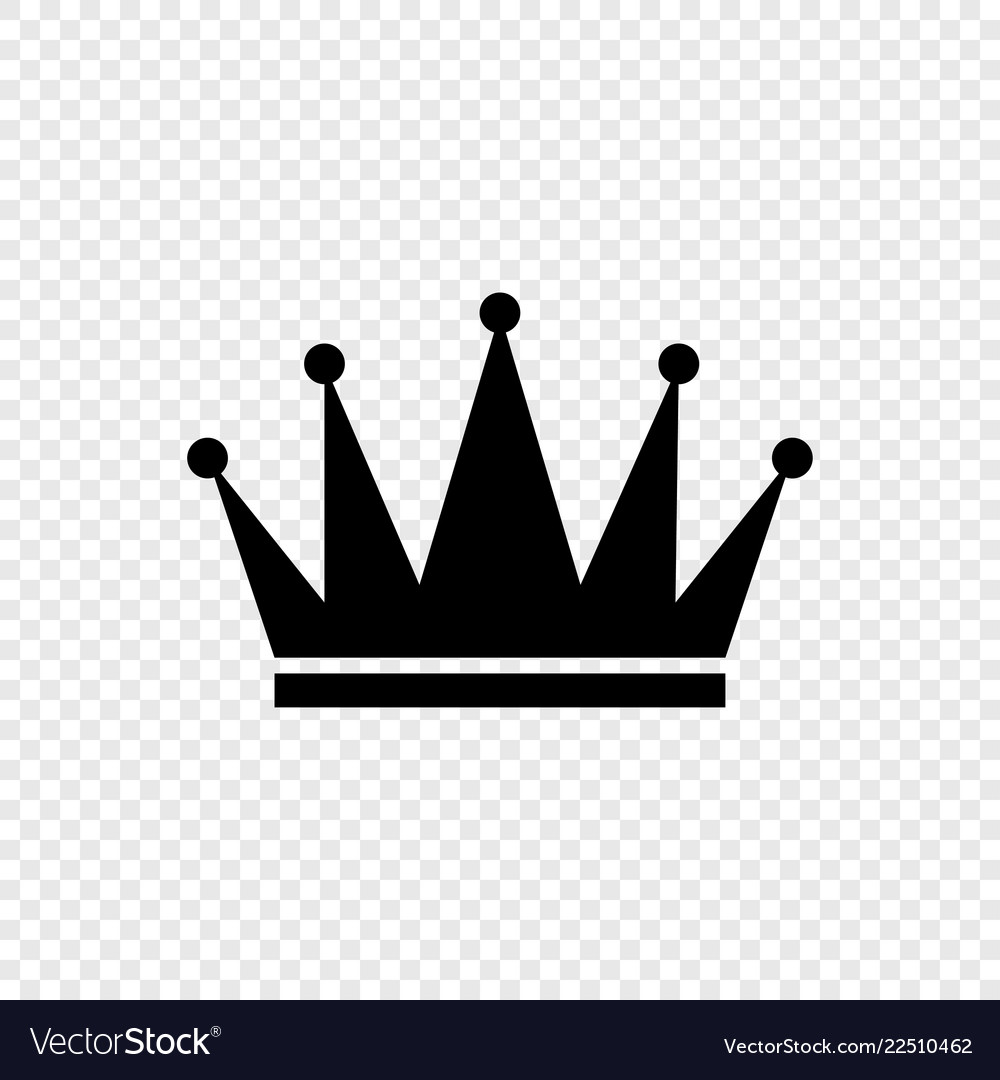 Black crown icon on transparent background