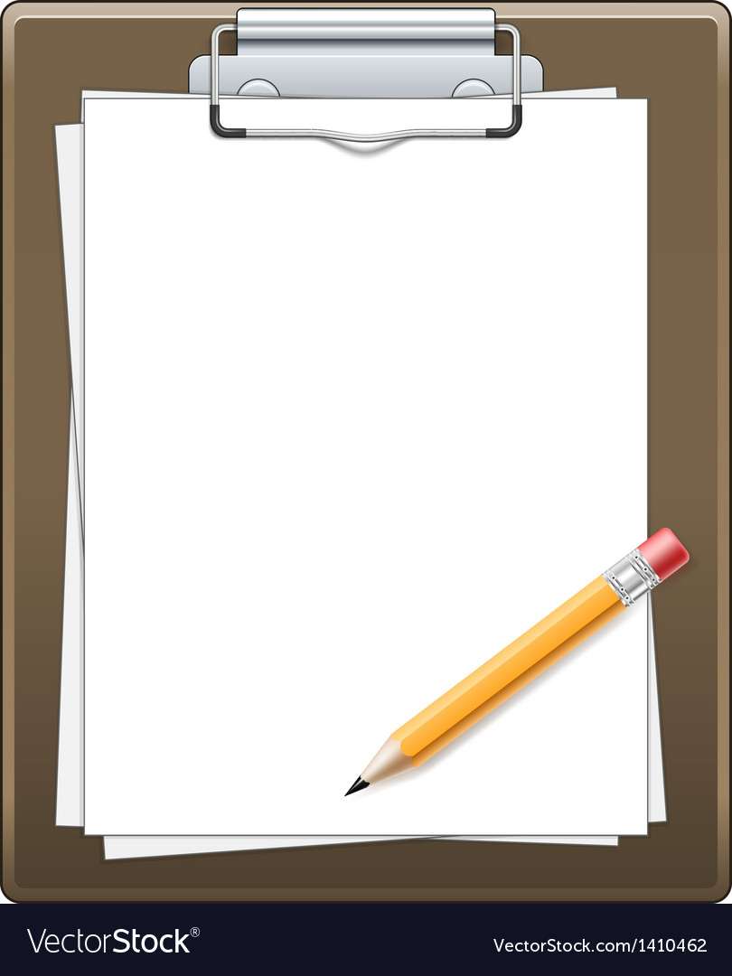 Clipboard with paper and pencil